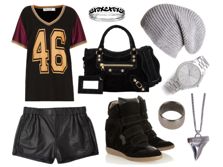 spring-outfit-raindrops-of-sapphire-leather-shorts-isabel-marant-bekket-basketball-tee