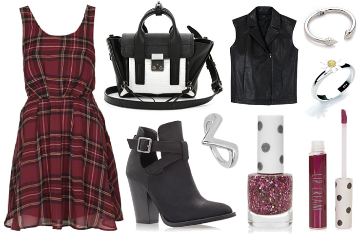spring-outfit-raindrops-of-sapphire-tartan-dress-black-boots-bag