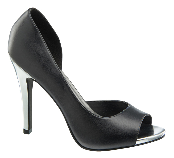 1 290 605, Peep toe with drop side and metallic heel, ú27.99 (Caroline Blomst)