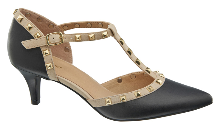 1 290 606, Pointed T-bar heel with gold stud detail, ú24.99 (Caroline Blomst)