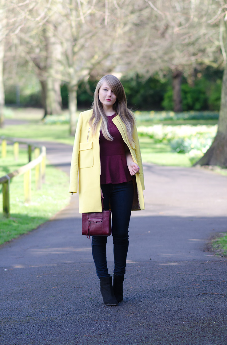 fashion blogger yellow zara zip coat Hi, Im Lorna Burford =)