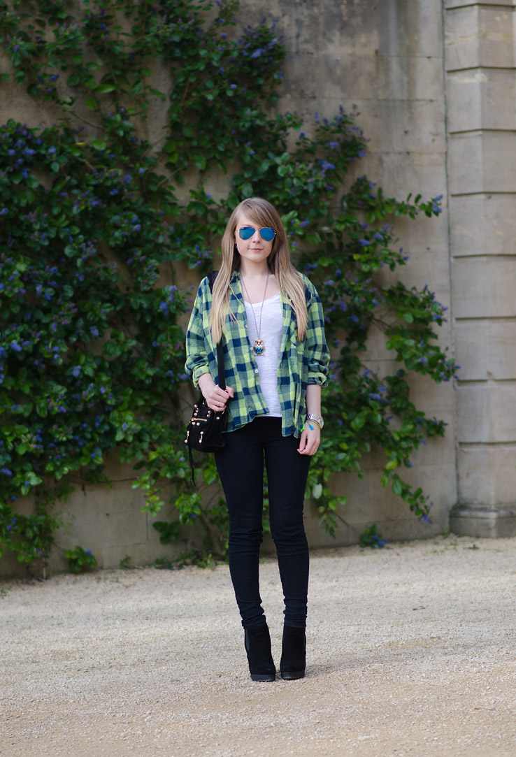 lorna-burford-green-plaid-shirt-black-tight-skinny-jeans