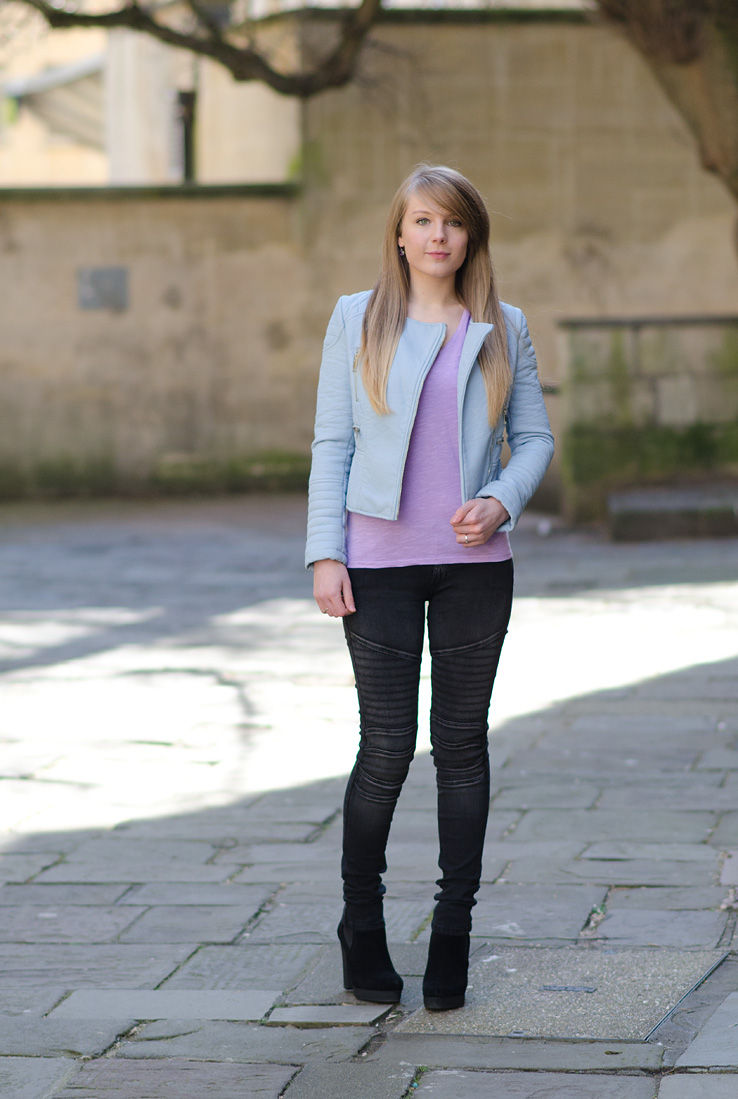 The Zara Pastel Blue Leather Jacket Outfit | Raindrops of Sapphire
