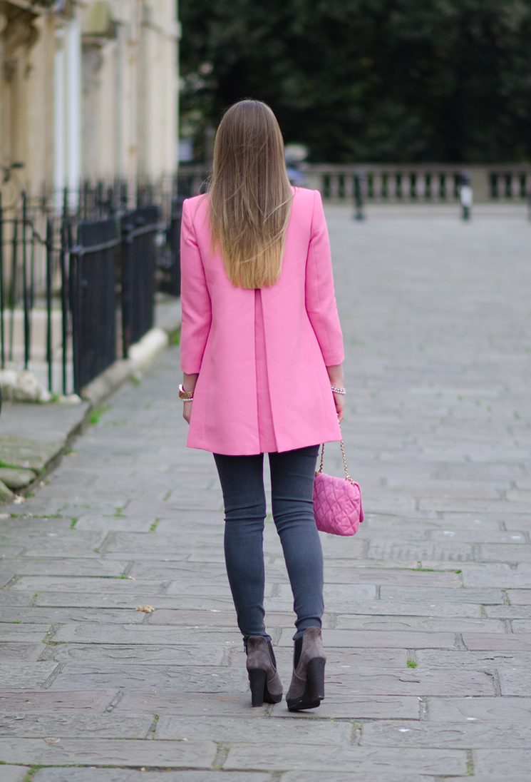 blonde ombre dip dye hair pink coat edited 1 The Pastel Pink Zara Coat With Grey Skinny Jeans