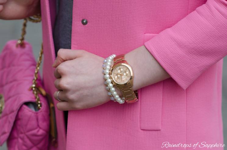 carvelle new york rose gold watch The Pastel Pink Zara Coat With Grey Skinny Jeans