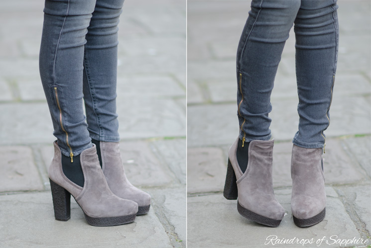 kg kurt geiger winona grey boots The Pastel Pink Zara Coat With Grey Skinny Jeans