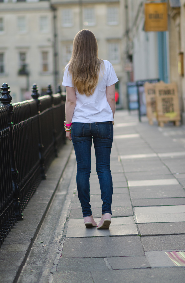 koral skinny moto jeans back The Cat Face Tee by Tea & Cake
