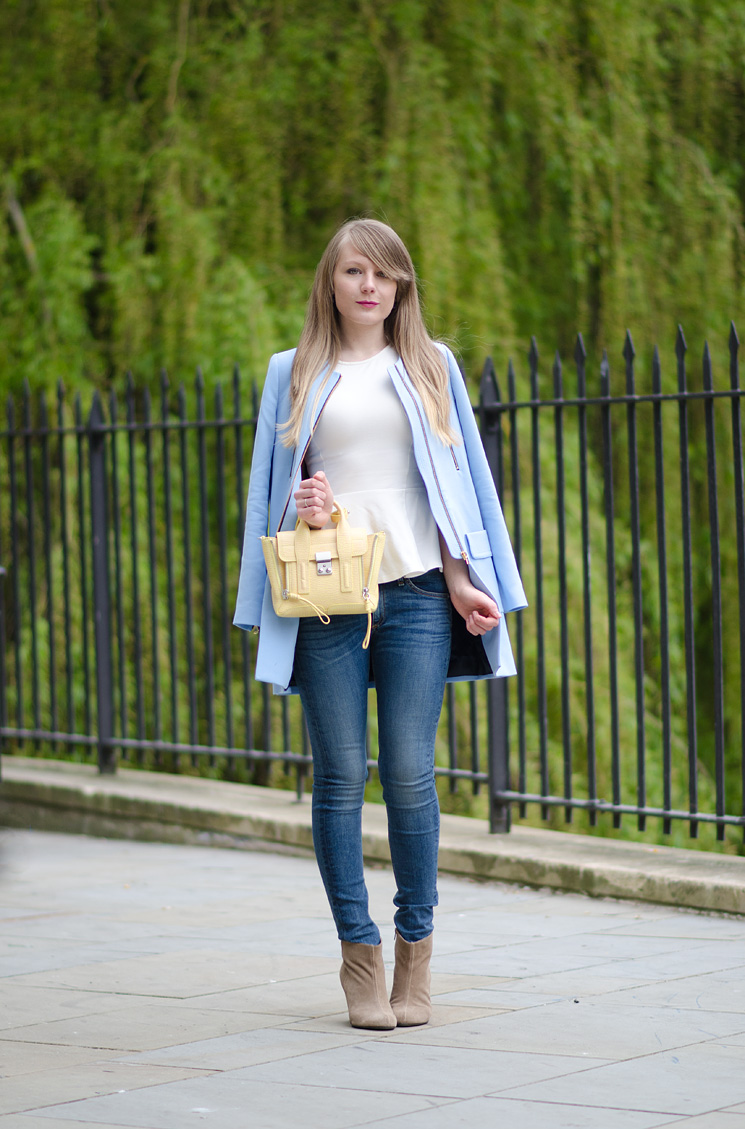 b82643e91b420 Pastel Blue Zara Coat With Rag & Bone Skinny Jeans | Raindrops of ...
