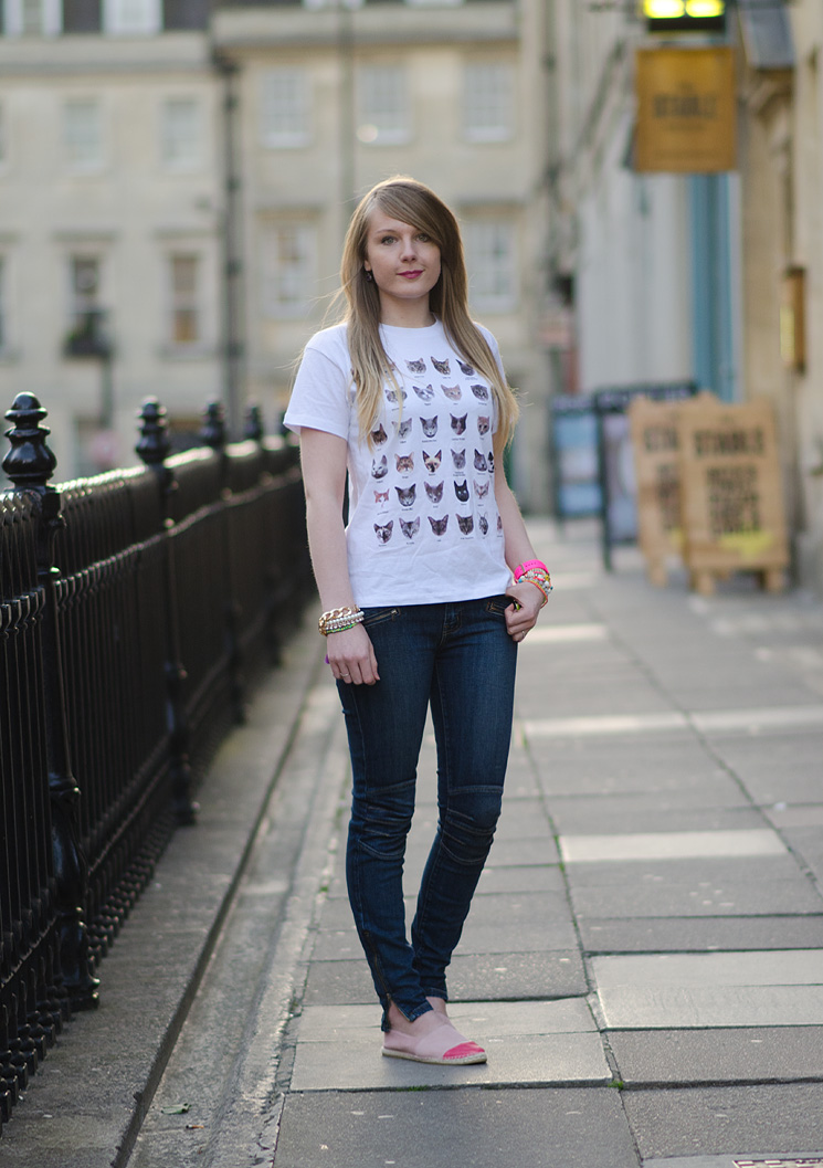lorna burford koral moto jeans The Cat Face Tee by Tea & Cake