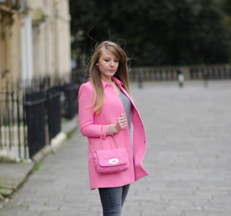 lorna burford uk british fashion blogger The Pastel Pink Zara Coat With Grey Skinny Jeans
