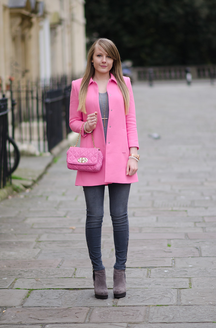 lorna burford zara pink spring 2014 coat The Pastel Pink Zara Coat With Grey Skinny Jeans
