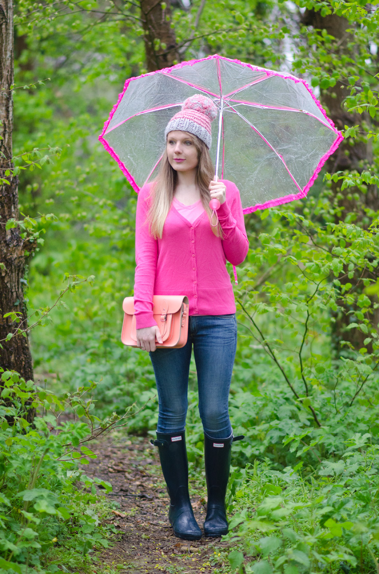 pink cardigan hunter wellies Drip, Drip, Drip Little April Showers
