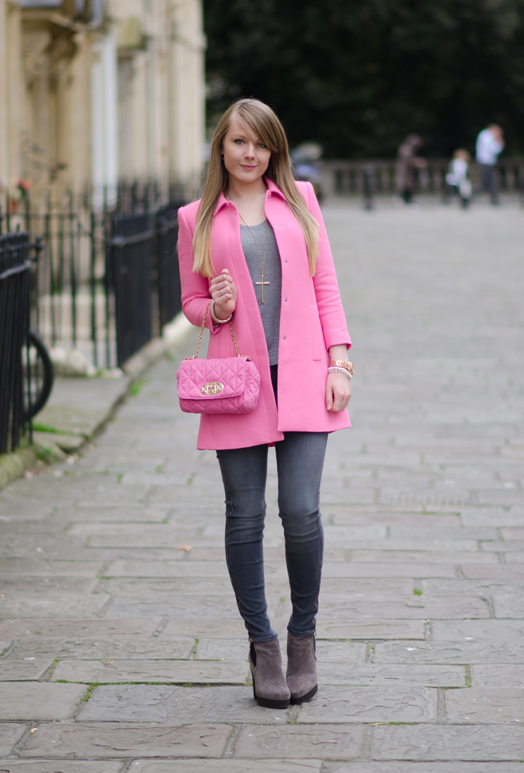 pink spring 2014 zara coat The Pastel Pink Zara Coat With Grey Skinny Jeans