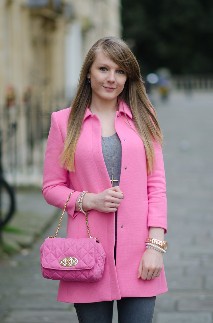 pink zara pastel spring coat The Pastel Pink Zara Coat With Grey Skinny Jeans