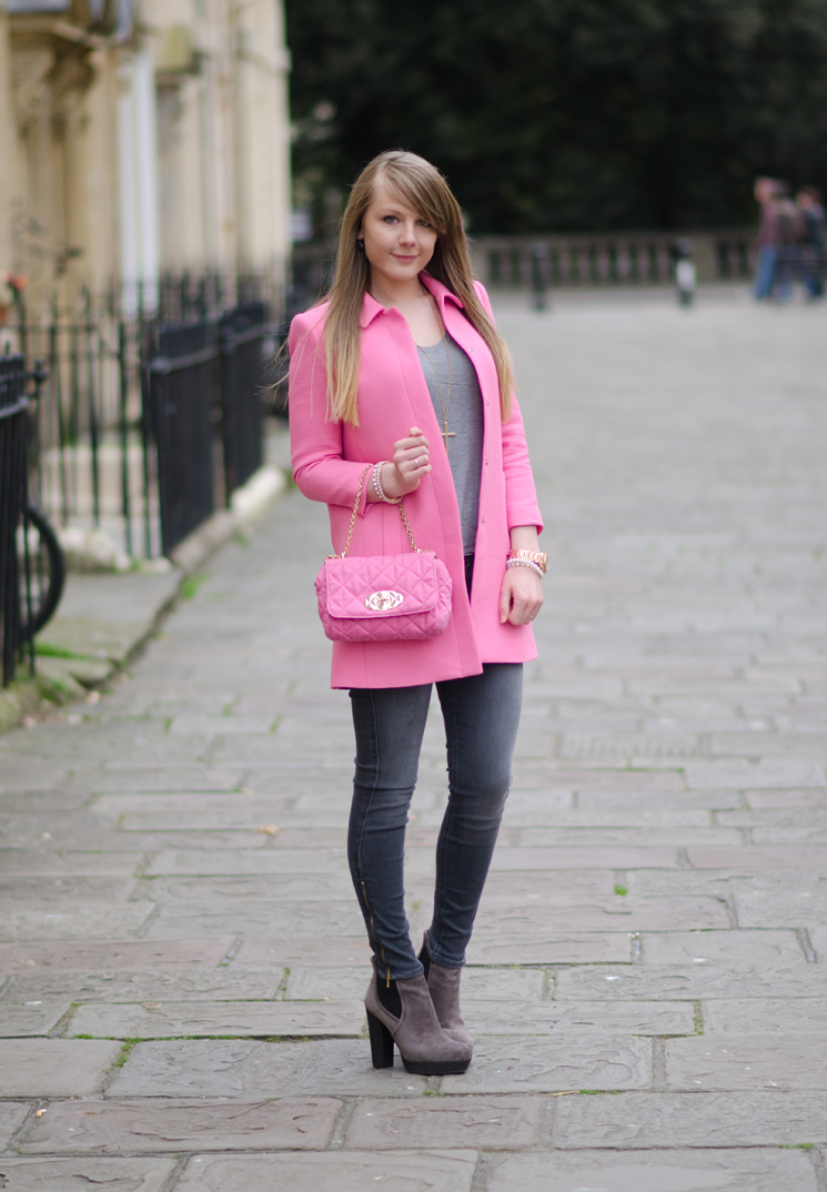 uk fashion blogger pastel pink coat spring The Pastel Pink Zara Coat With Grey Skinny Jeans