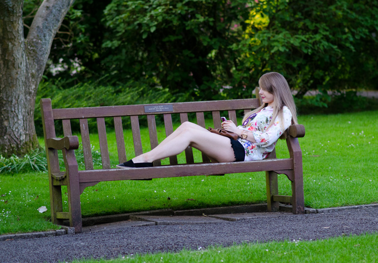 blonde-girl-lying-on-bench