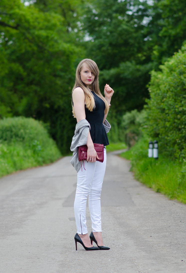 Black Peplum With White Skinny Jeans | Raindrops of Sapphire