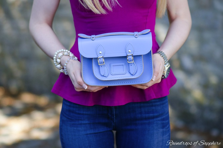 cambridge satchel mini bag bellflower blue Magenta Purple With Bellflower Blue