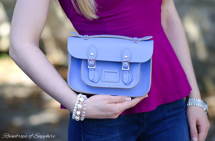 cambridge satchel mini bellflower blue Magenta Purple With Bellflower Blue