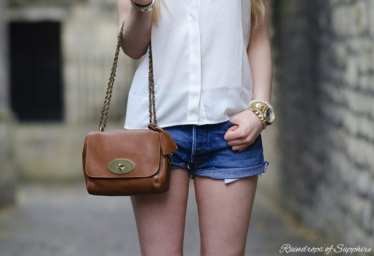 mulberry lily oak denim shorts Vintage Levis Denim Shorts With A White Studded Shirt