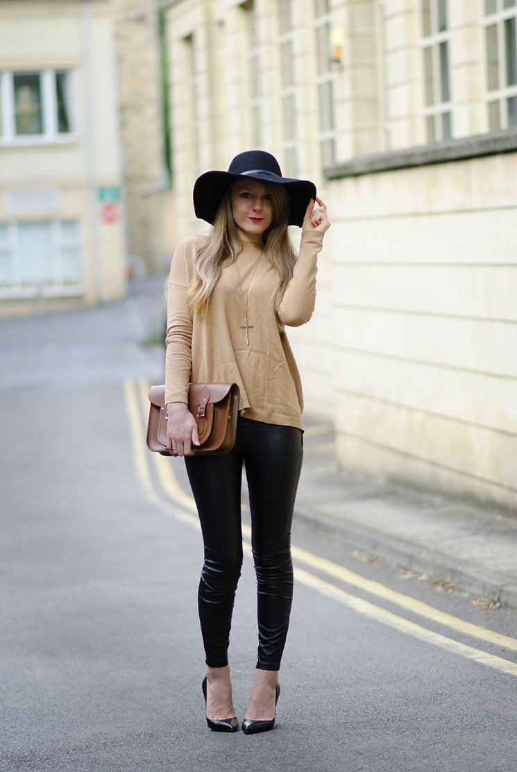 lorna burford floppy hat tight leather leggings Vintage Inspired With Leather & A Floppy Hat