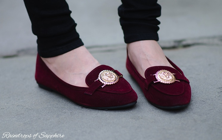 topshop-sandylion-burgundy-flats-slippers-gold-lion