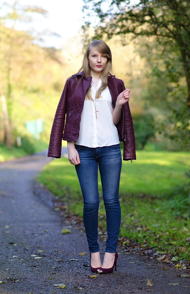 lorna burford ag jeans burgundy leather jacket The Berry Faux Leather Jacket With Skinny Jeans