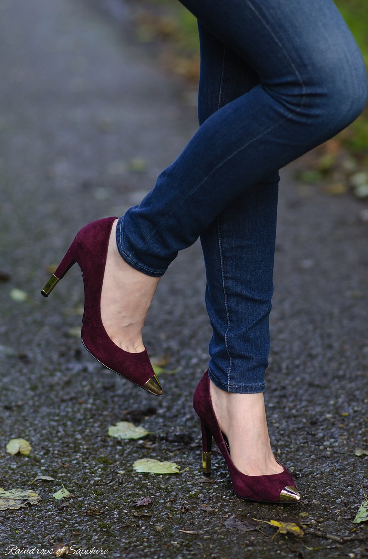 topshop burgundy heels gold toe heels The Berry Faux Leather Jacket With Skinny Jeans
