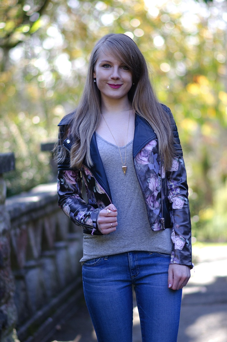 Leather jacket with roses -  Rose Print Leather Jacket