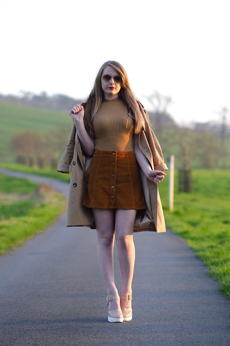 70s-brown-cord-skirt-trench-coat