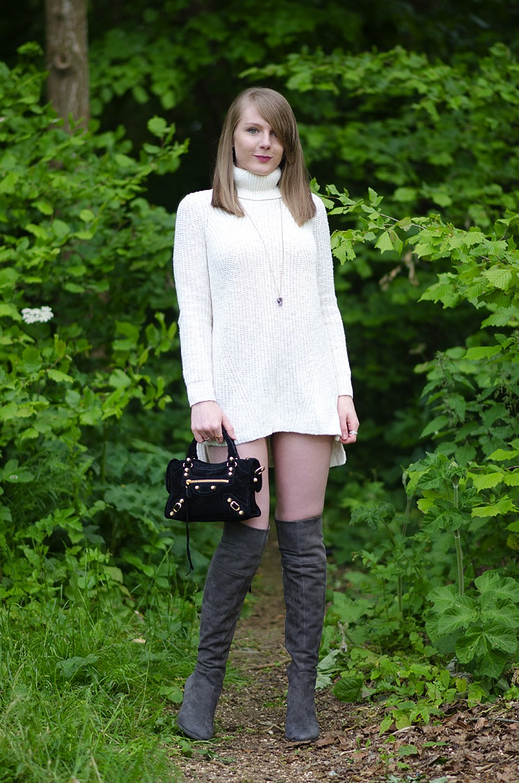 the sweater dress and knee high boots raindrops of sapphire