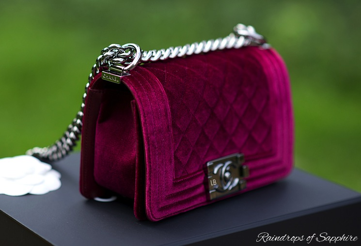 Review Of The Chanel Small Boy Bag In Velvet Bordeaux