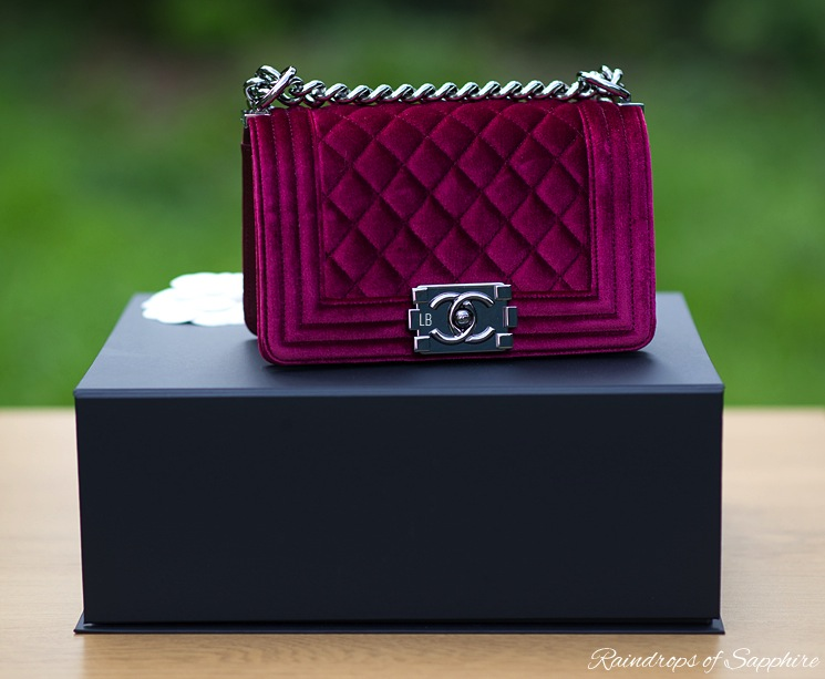chanel small boy bag bordeaux velvet raindrops of sapphire