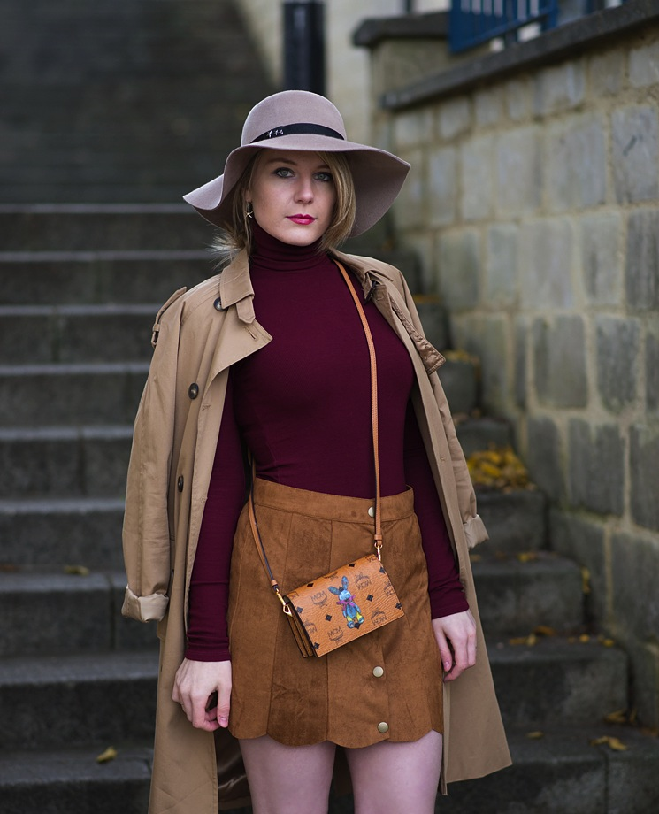 trench-coat-suede-skirt-burgundy-roll-neck