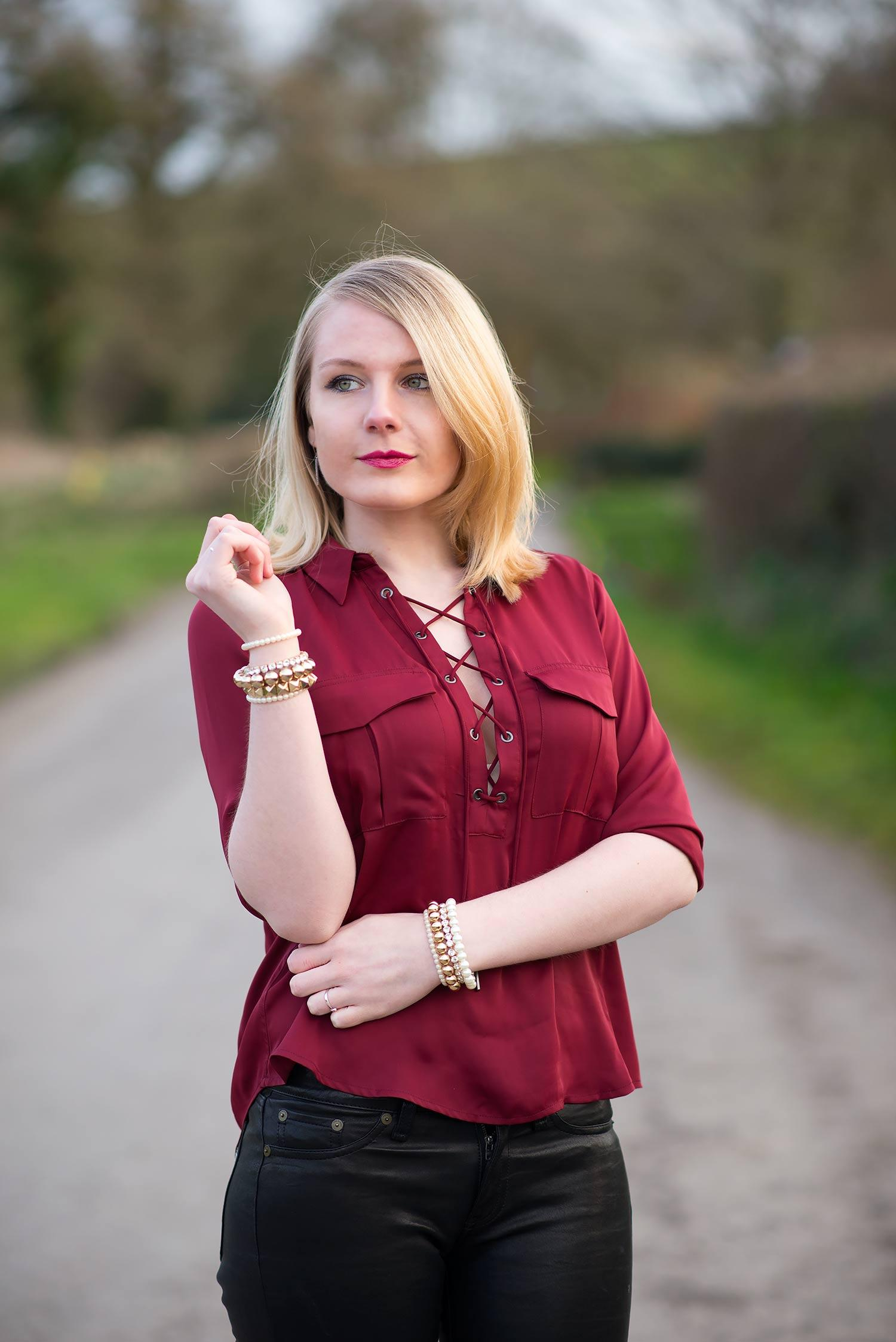 lacademie safari blouse burgundy