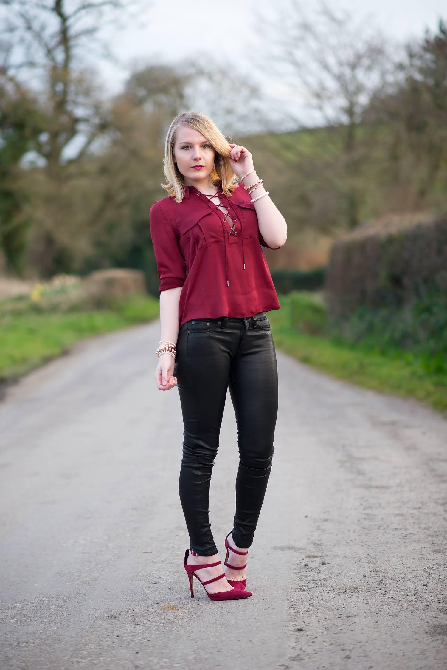The Black Leather Pants & Maroon Lace Blouse | Raindrops ...