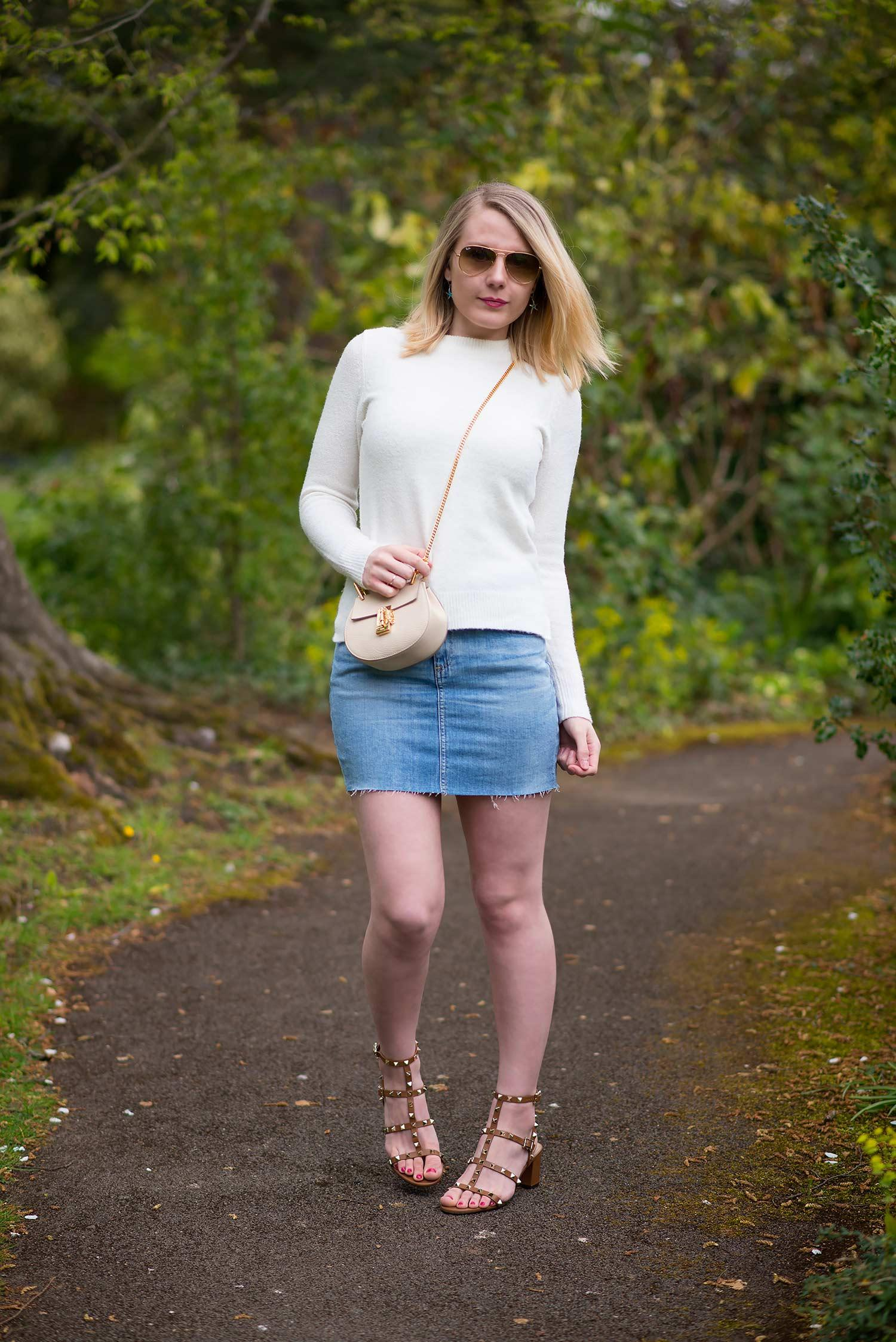 ag denim mini skirt with sweater and sandals