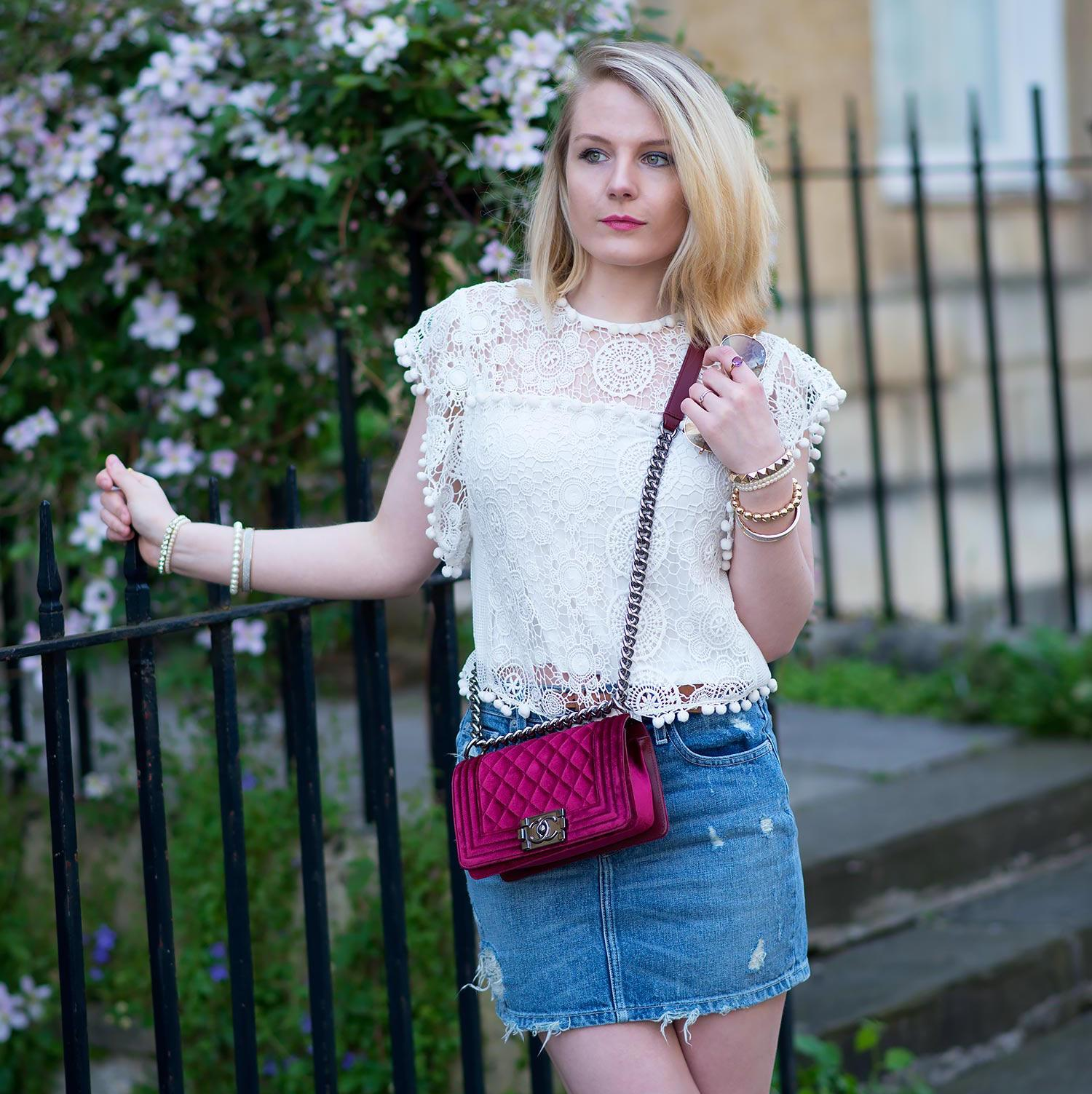 chanel velvet boy bag with denim mini skirt copy