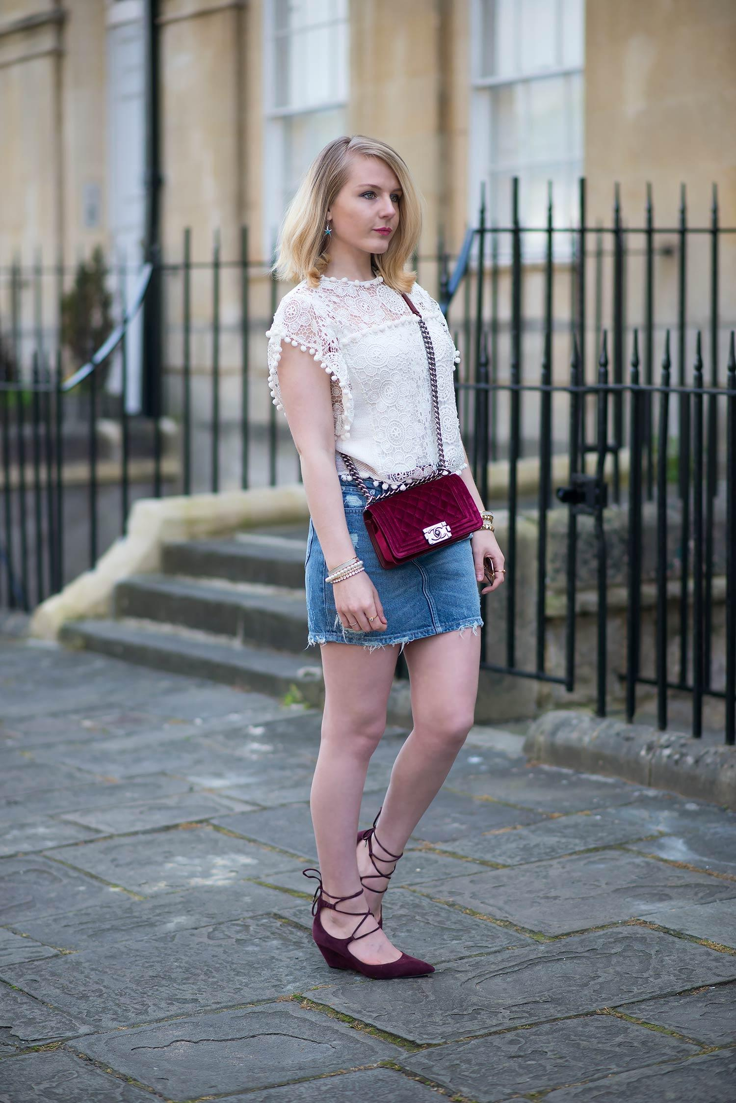 lace white top with denim mini skirt
