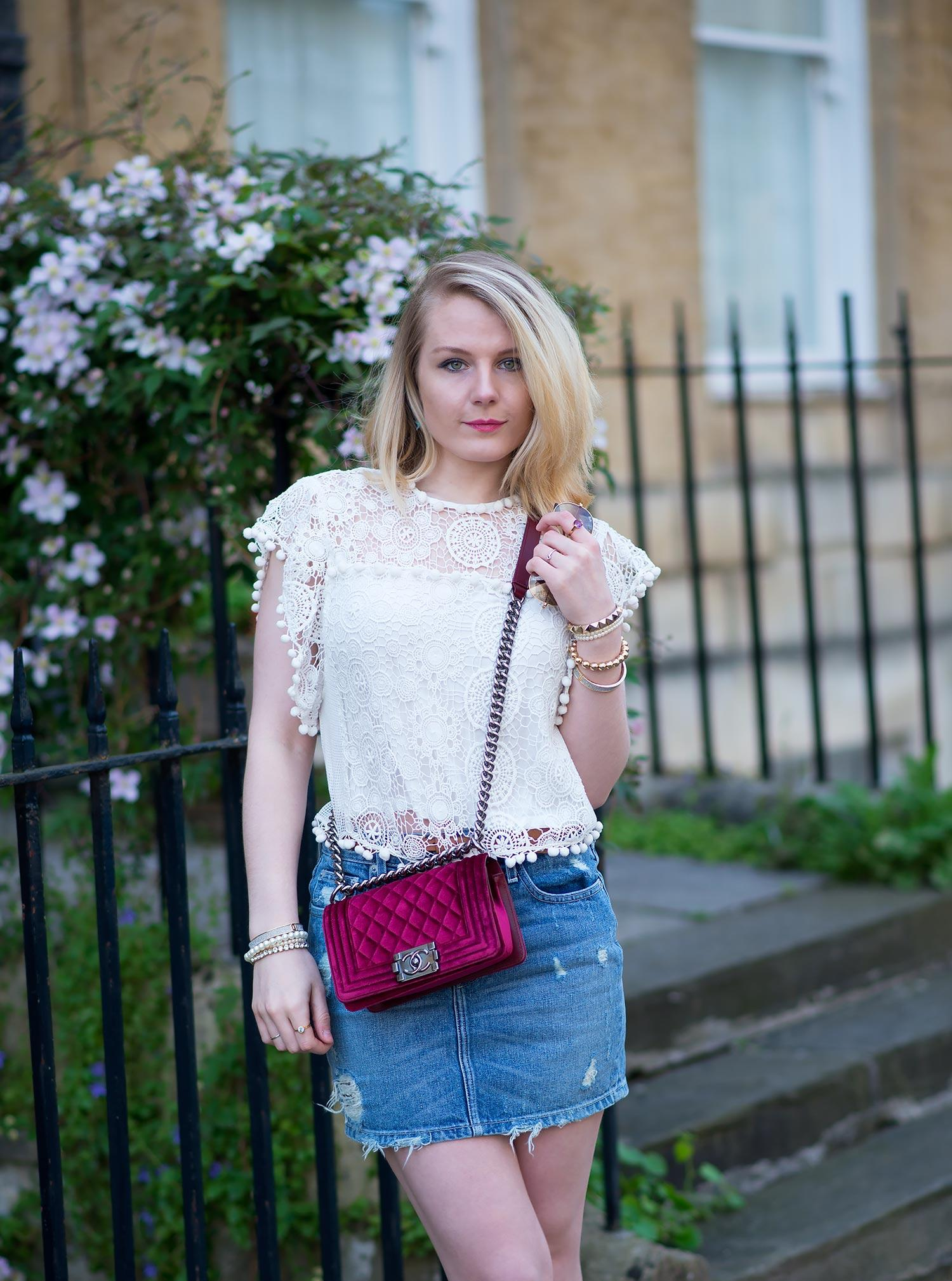 lorna burford fashion blogger lace top with denim mini skirt