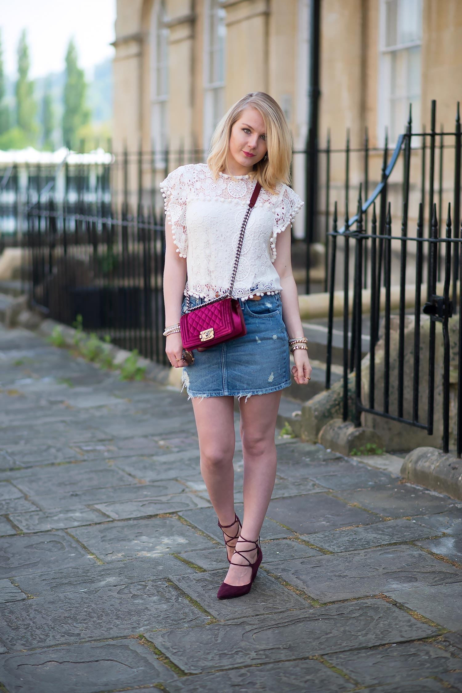 tularosa denim mini skirt and lace top outfit