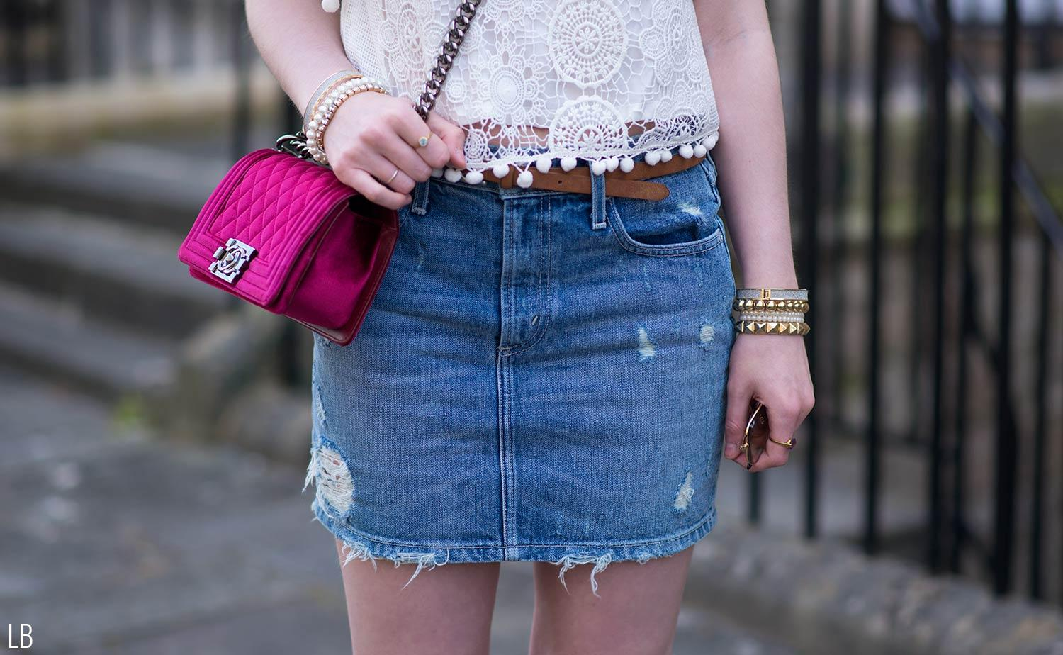 tularosa denim mini skirt