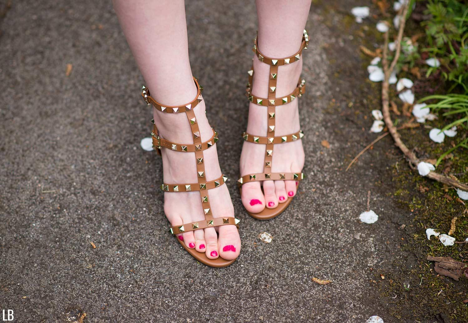 valentino rockstud city sandals brown