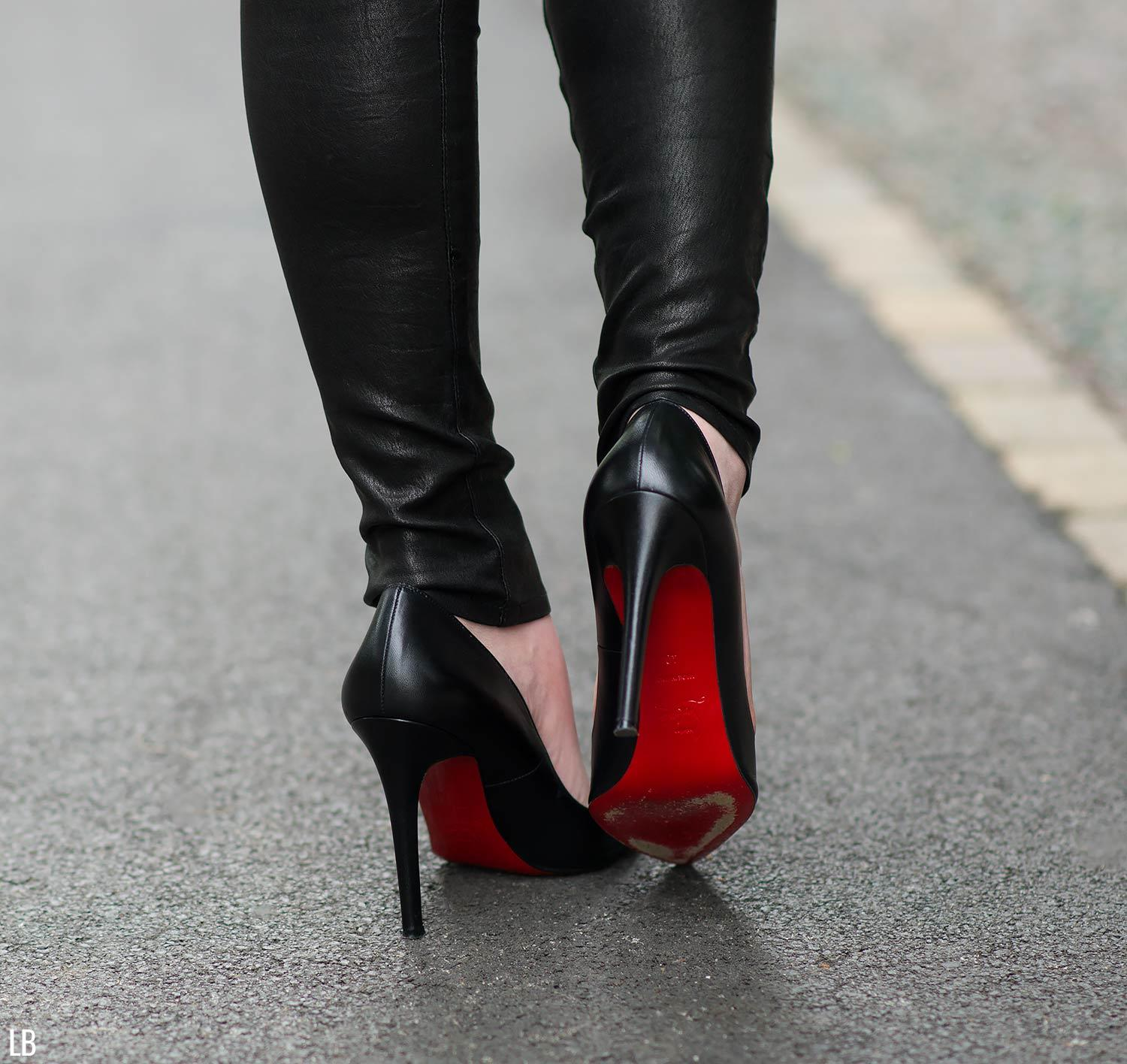 christian louboutin pigalle with leather pants