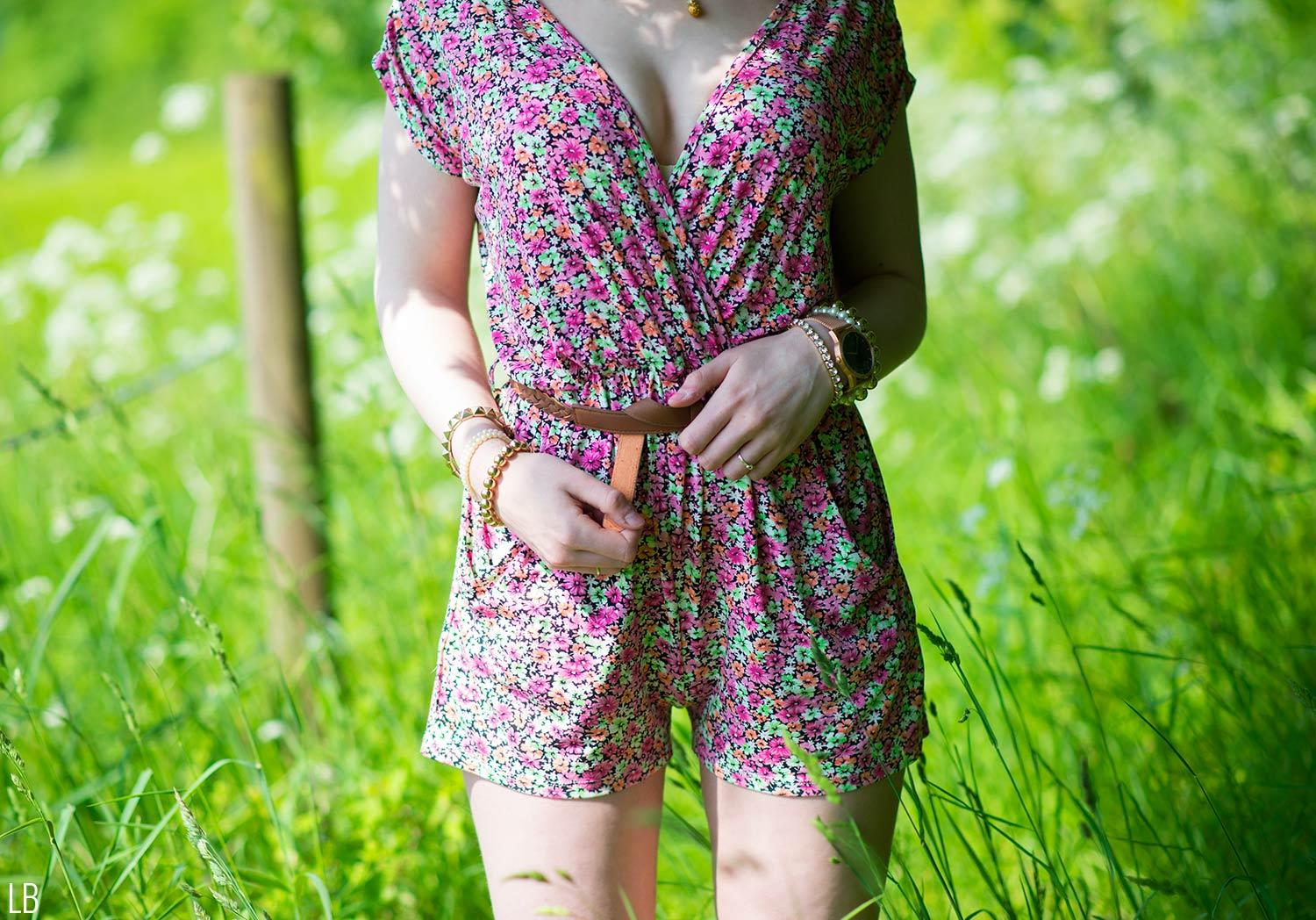 lipsy floral playsuit belted