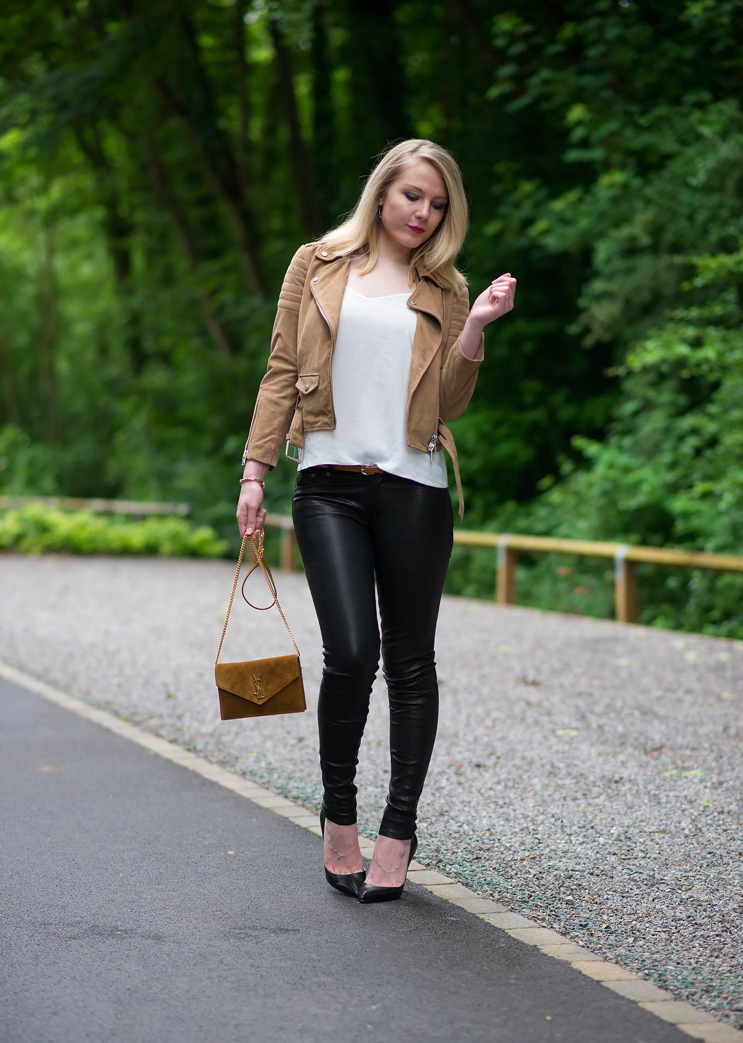leather jeans Girls tight jacket and