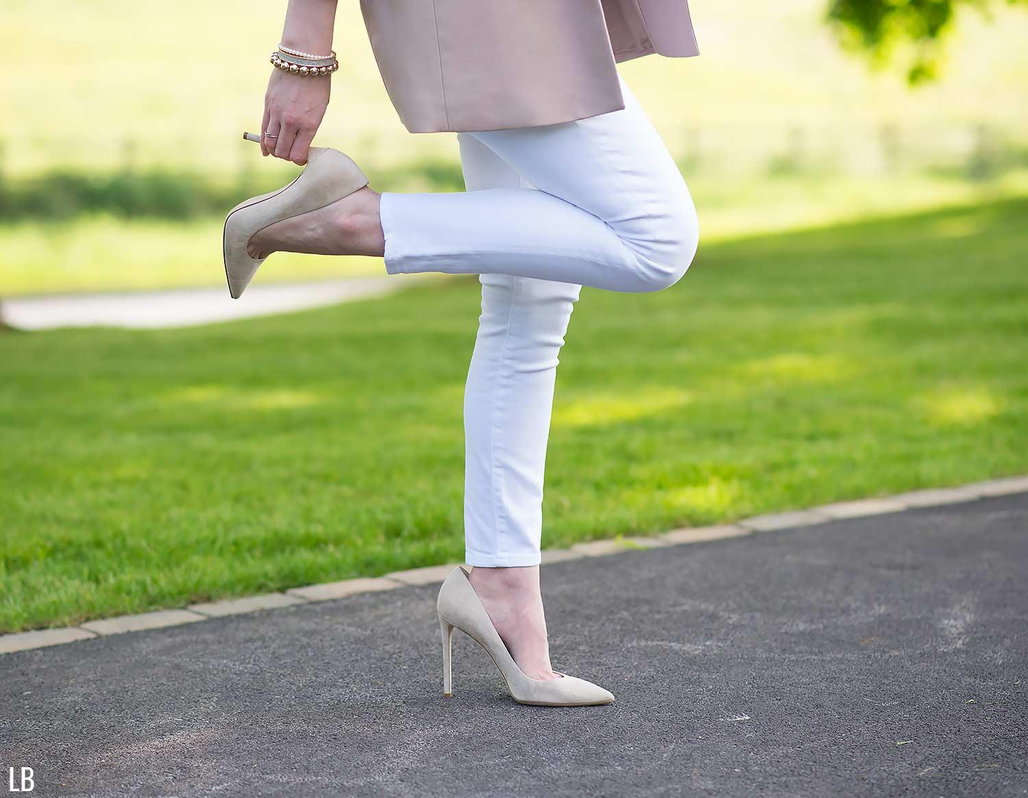 nude heels white jeans