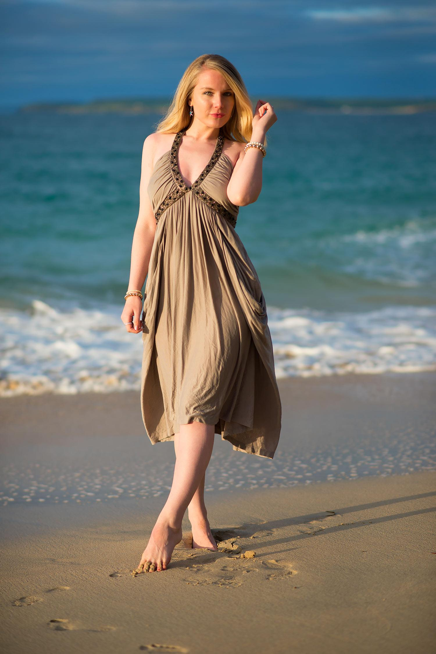 beaded grecian dress on beach photo shoot