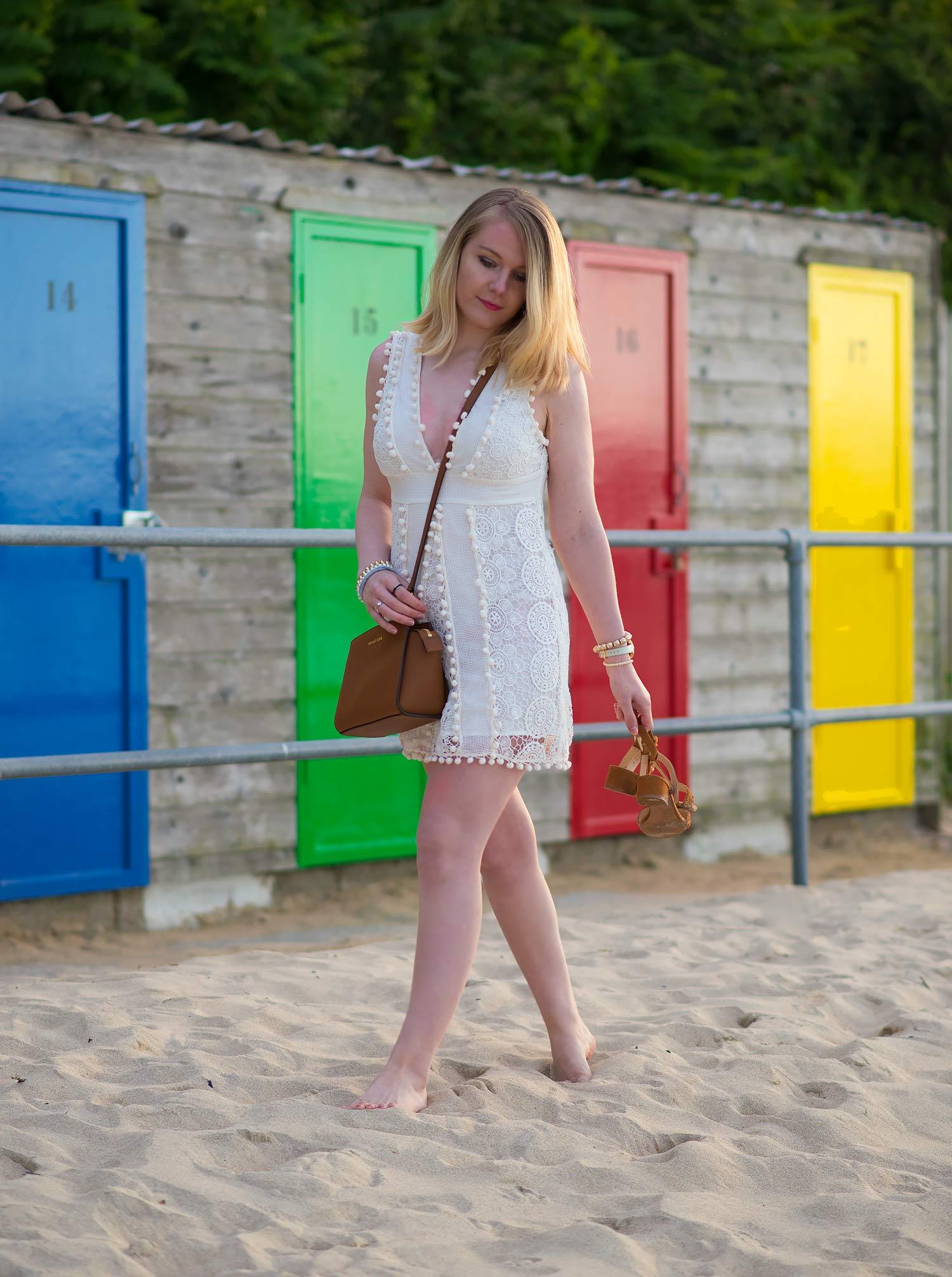 tularosa lace white dress on beach