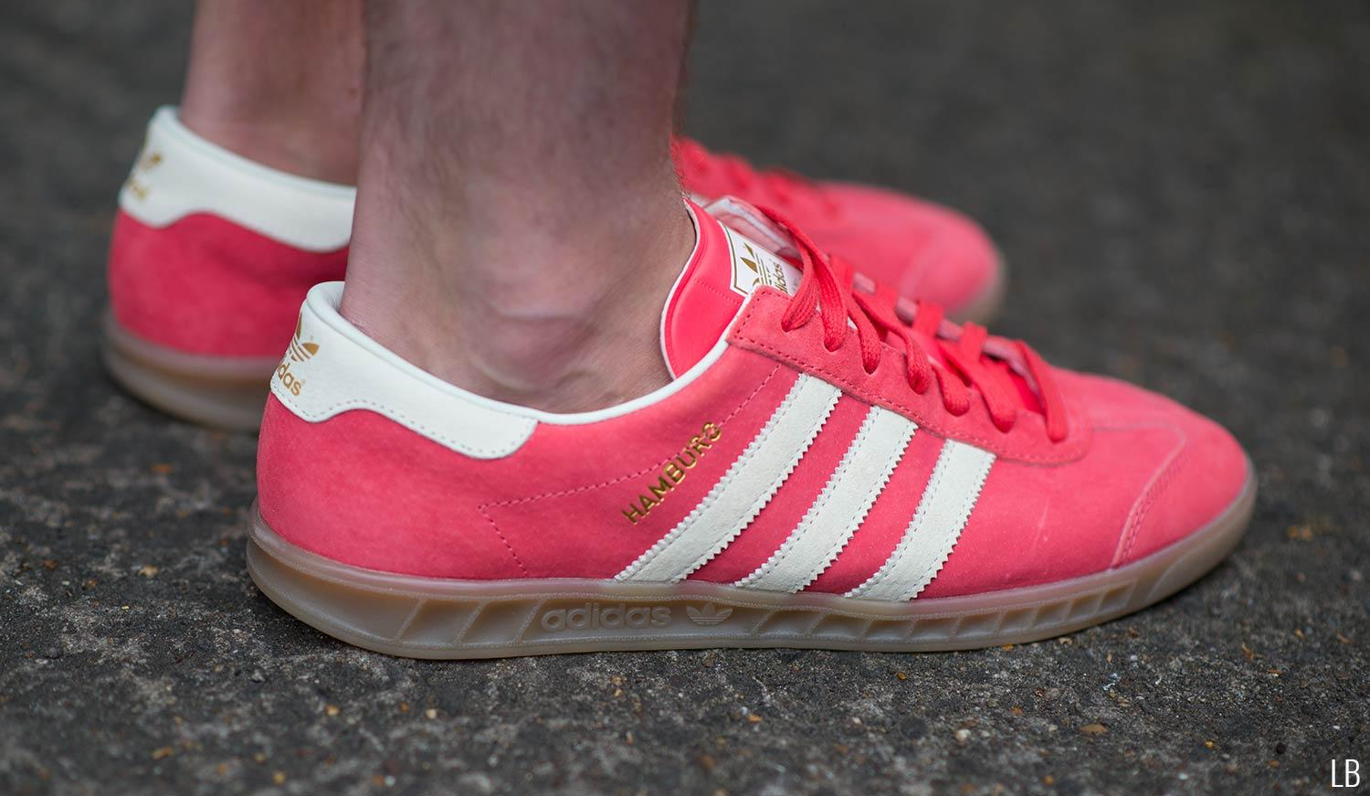 Men's Adidas Hamburg Shock Red Gum Trainers Sneakers Review 2